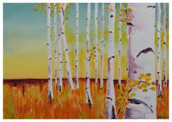 Glow Acrylic & gold leaf on Canvas 59x42 cm A4t