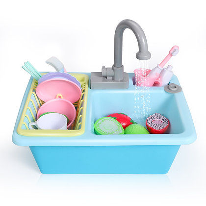 כיור מטבח לילדים עם מים זורמים ואביזרים