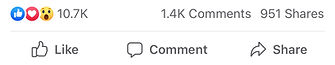 screenshot from facebook showing number of likes, comments and shares