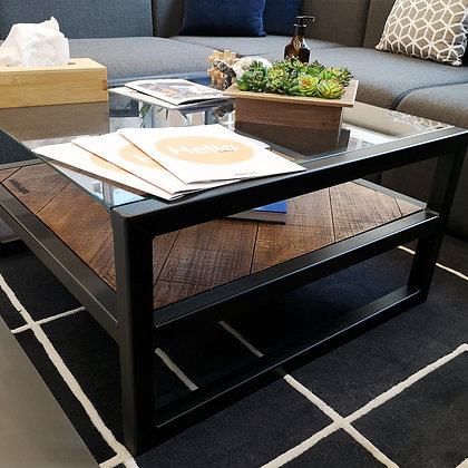 Chiara Industrial Glass Character Oak Coffee Table