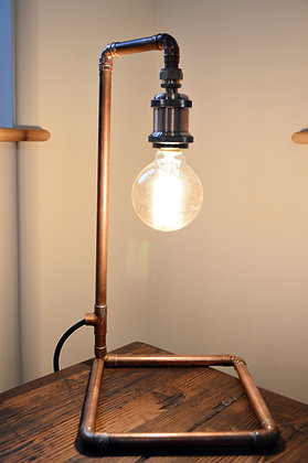 Industrial Polished Copper Table Lamp