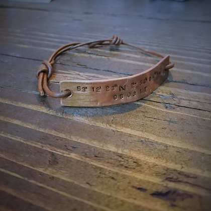 Handmade Personalised Copper & Leather Bracelet