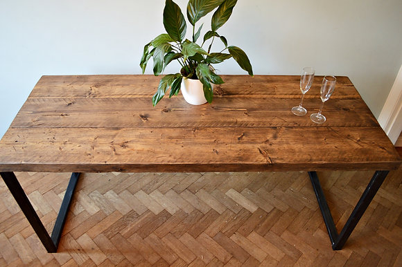 Prima Industrial Reclaimed Wood Dining Table