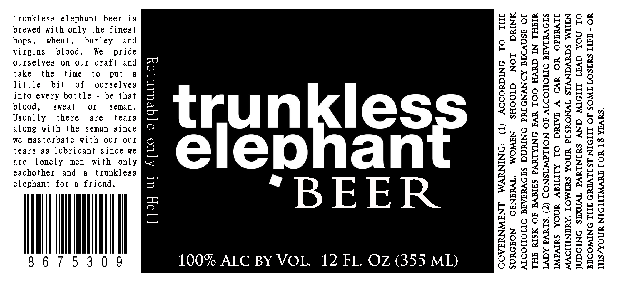 Trunkless Beer prop labels