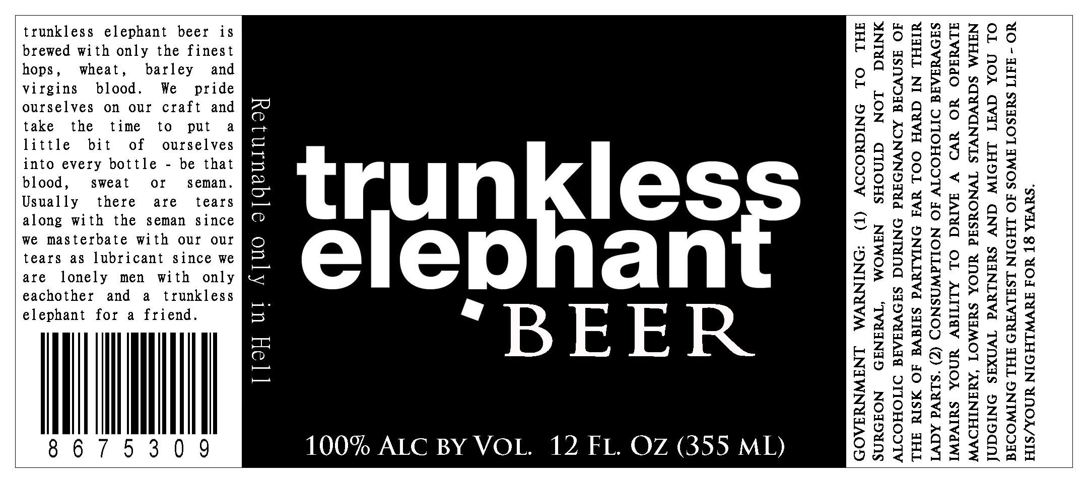Trunkless Elephant label - film prop