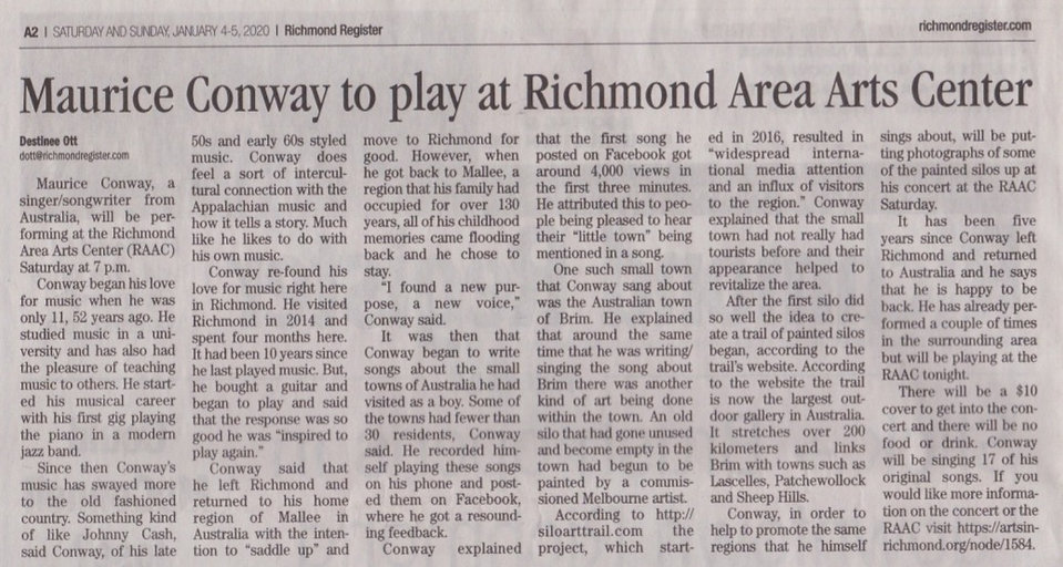 Maurice Conway Newspaper Richmond Register