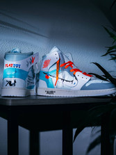 My hand-painted Retro Off-White Air Jordan 1's for Chris Fulcher