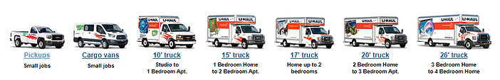 Image of all the different U-haul trucks avalible for rental at ourt facillity here in Midlothian Tx.