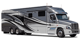 picture of a Large Rv motor home. This image shows the capacity of our storge & parking space.