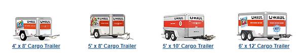 This image shows all the U-haul Cargo trailers avalible for rent here at Patriot Storage in Midlothian.