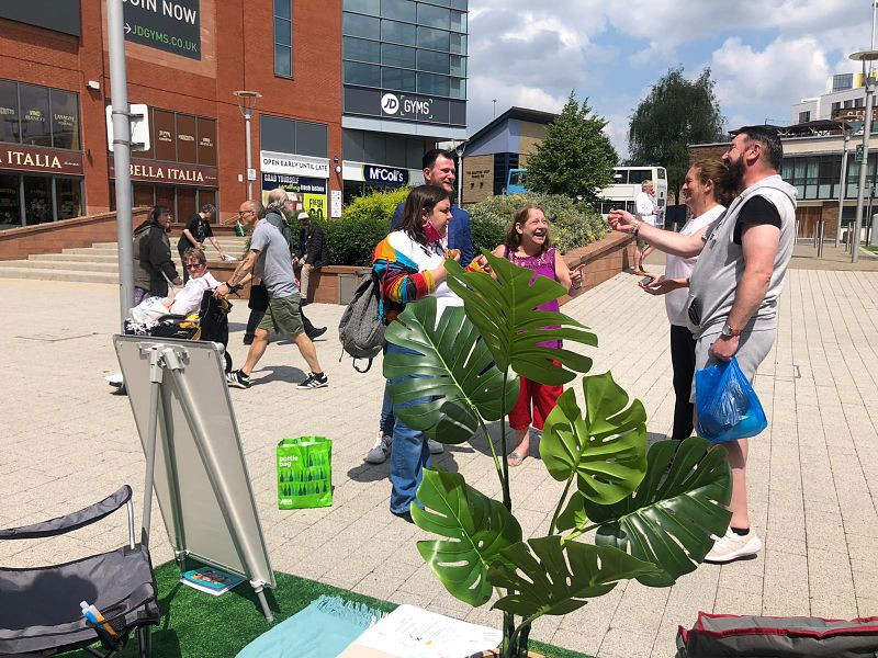 People gather at a Grapevine parklet in Coventry city centre