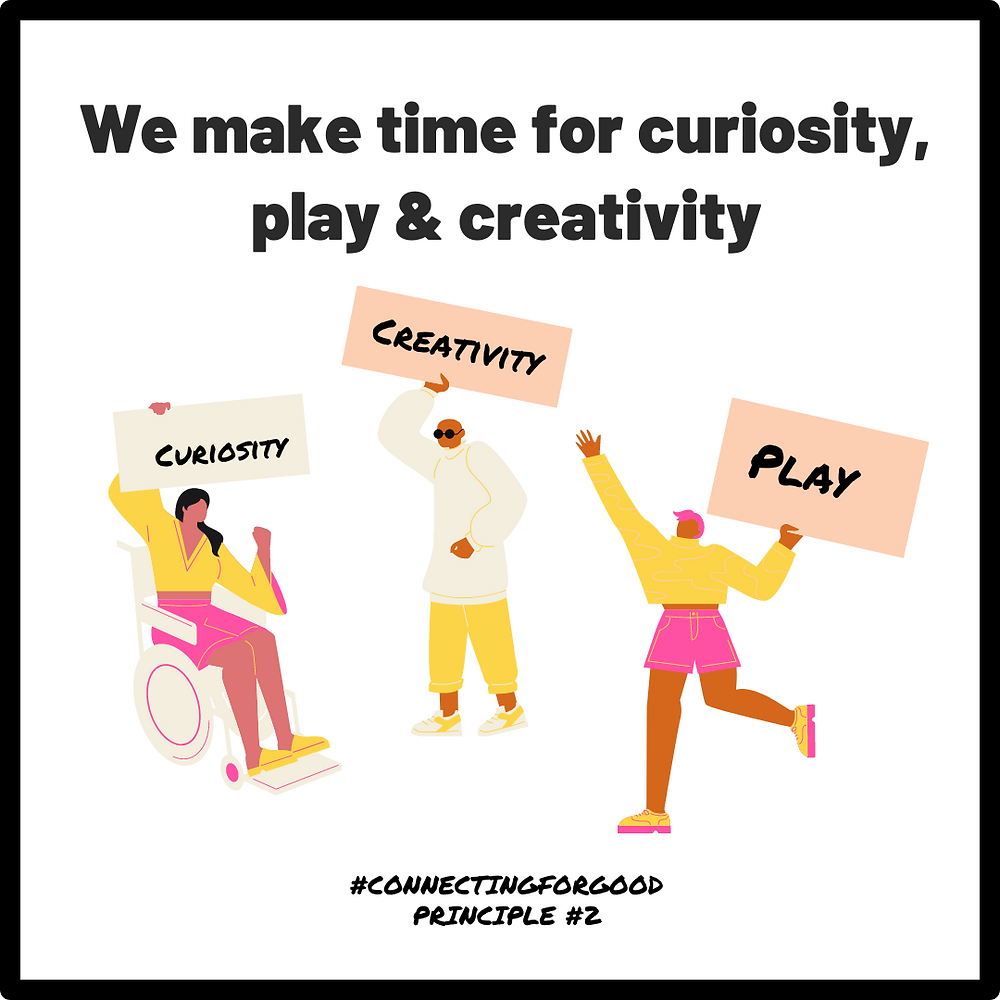 An illustration of three people, one in a wheelchair, holding placards that read Curiosity, Creativity, Play. This is #ConnectingForGood Principle 2.