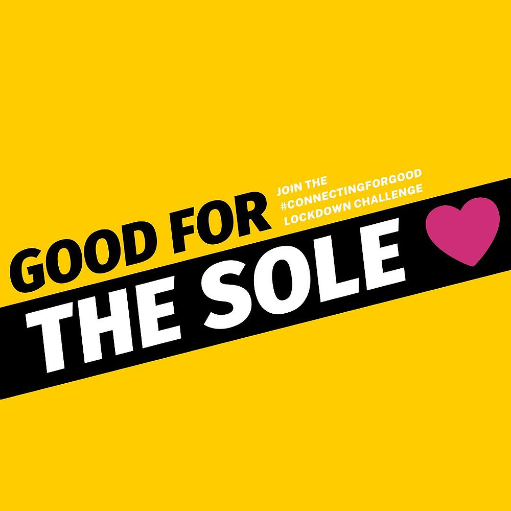 The Good for the Sole logo - a yellow background with the words Good for the Sole inside a black stripe with a pink heart.