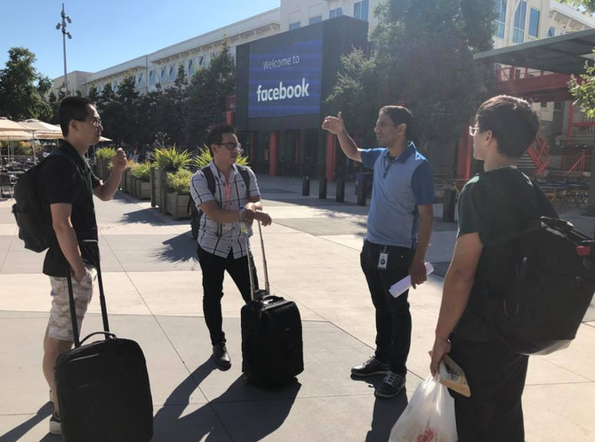 The team lands at FB headquarters.