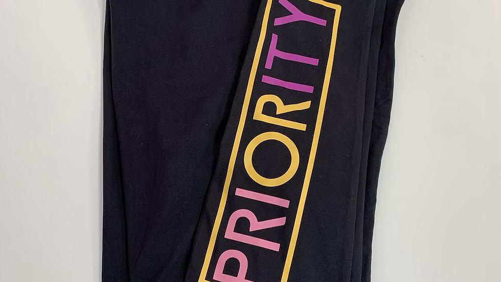 PRIORITY Leggings: Black w| Pink, Purple and Yellow words