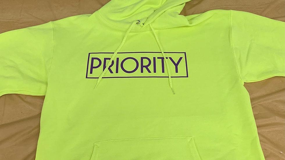 PRIORITY Hoodie : Lime Green w| Purple words