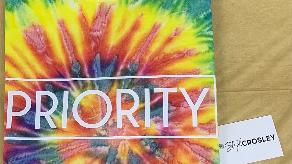 PRIORITY T-Shirt : Tie Dye w| White words