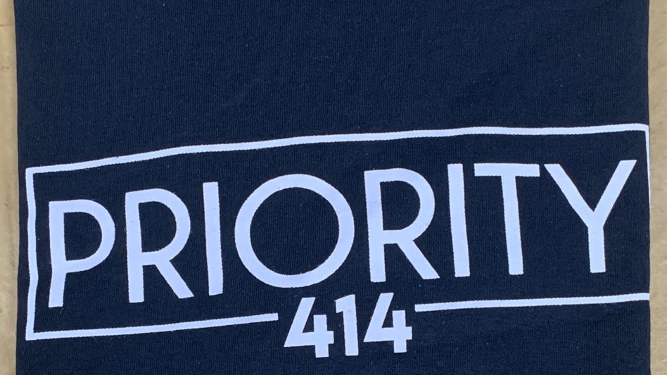 PRIORITY 414 T-Shirt : Black w| White words