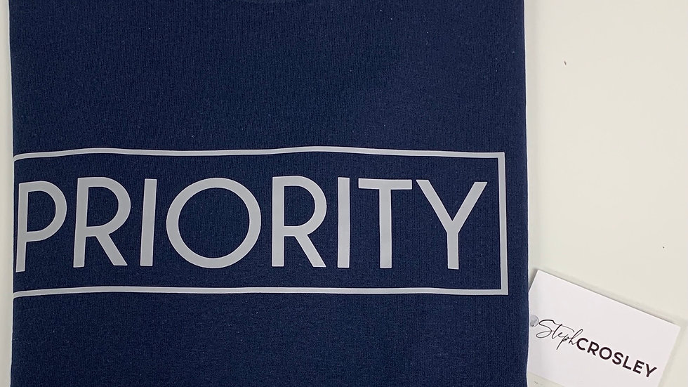 PRIORITY T-Shirt : Navy Blue w| Grey words