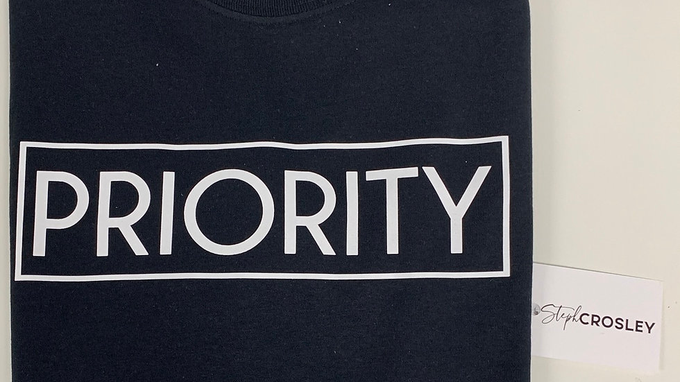 PRIORITY T-Shirt : Black w| White words