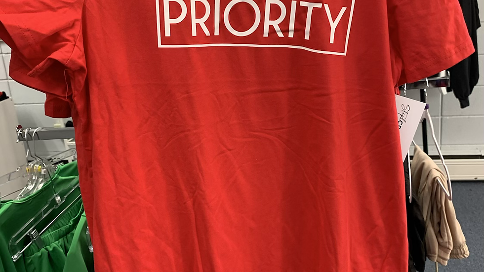 PRIORITY T-Shirt Dress : Red w  White words