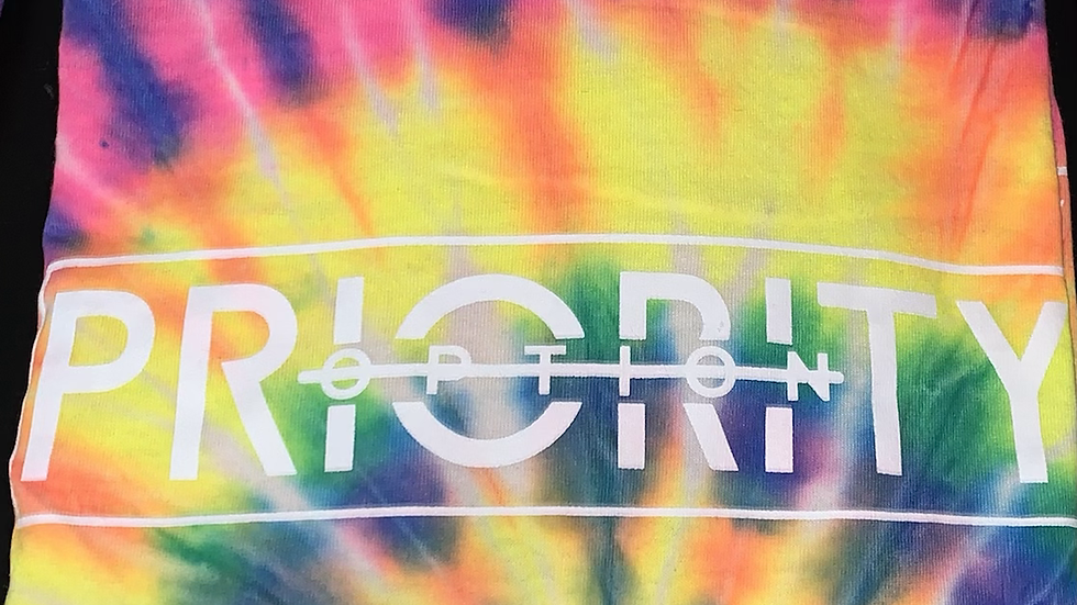 PRIORITY 'Not an Option ' T-Shirt : Tie dye w  White