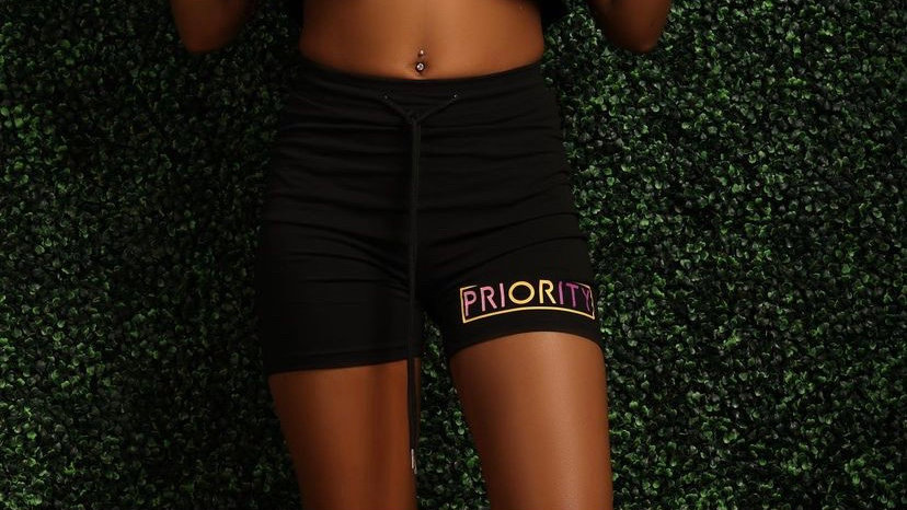 PRIORITY Women's Shorts : Black w| Pink, Purple and Yellow