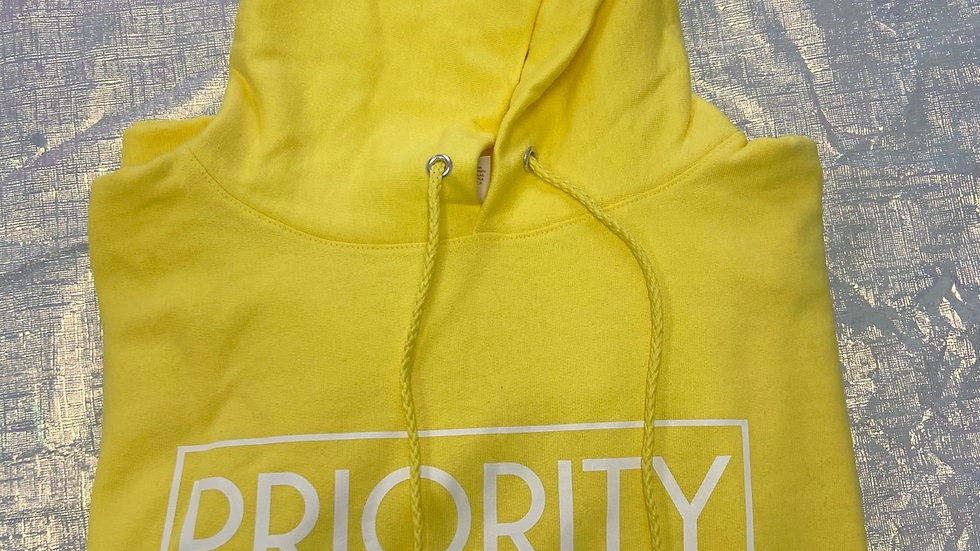 PRIORITY Hoodie : Yellow w  White words