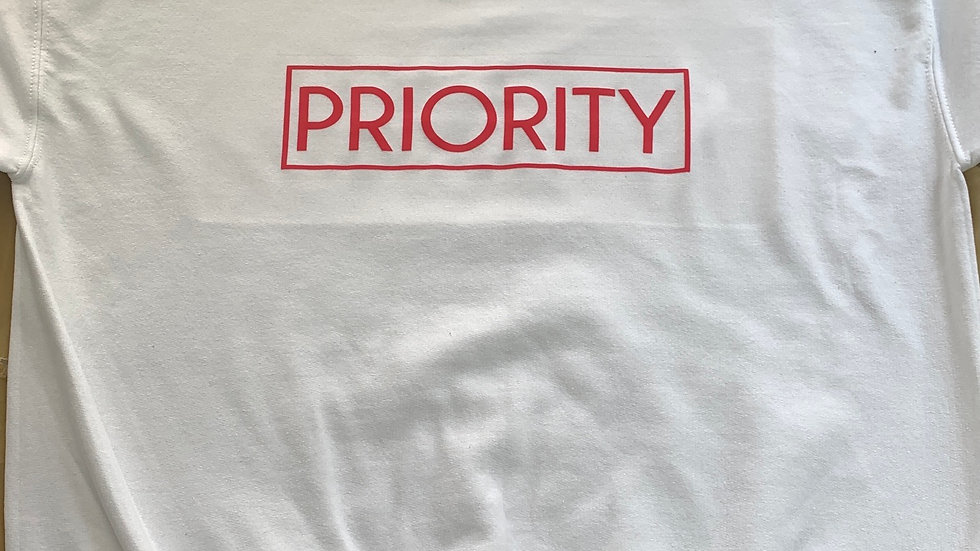PRIORITY Crewneck : White w| Red words