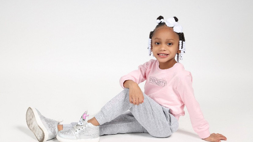 PRIORITY 'Kids' Jogger Set : Pink and Grey