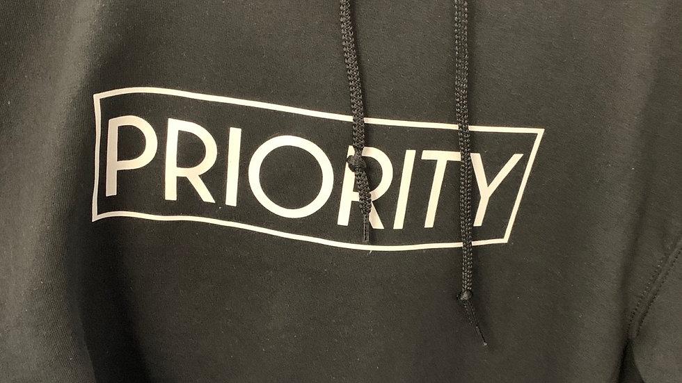 PRIORITY Hoodie : Black w  White words
