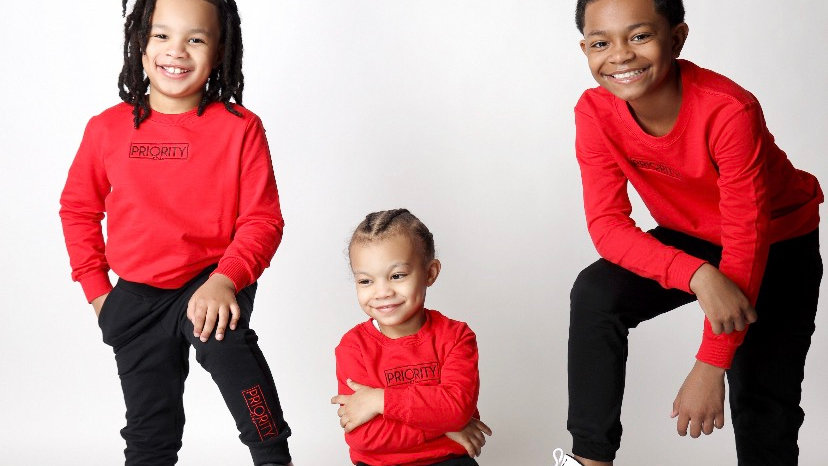 PRIORITY 'Kids' Jogger Set : Red and Black