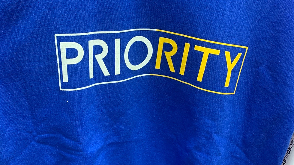 PRIORITY Crewneck: Royal Blue w| White and Yellow Words