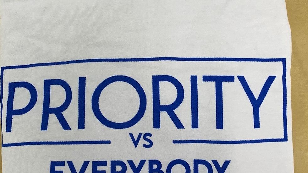 PRIORITY Vs EVERYBODY T-Shirt : White w| Royal Blue