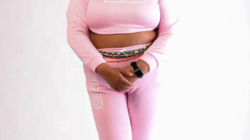 PRIORITY Women's Cropped Hoodie Jogging Suit : Pink