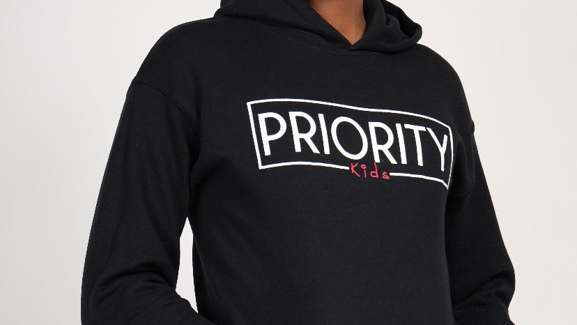 PRIORITY 'Kids' Hoodie : Black w| White words