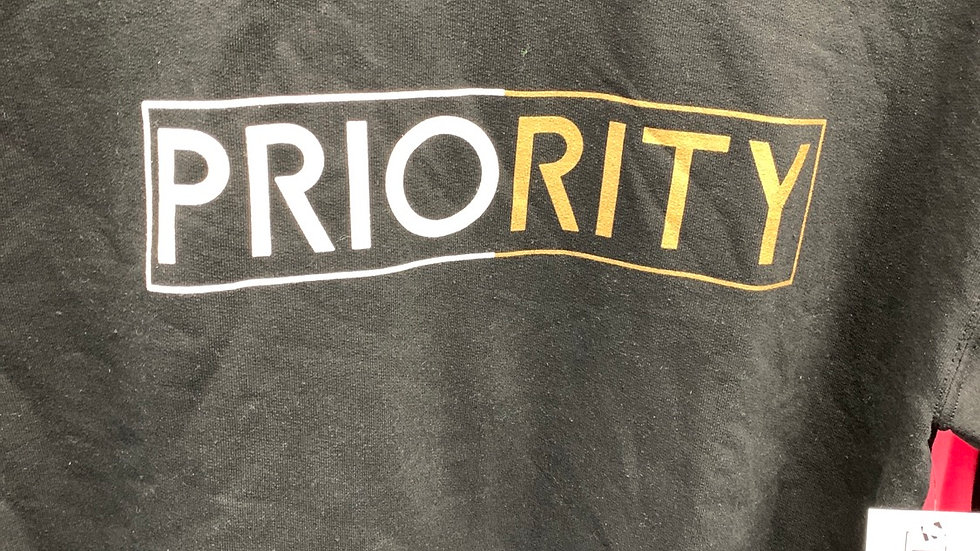 PRIORITY Crewneck: Black w| White and Gold words