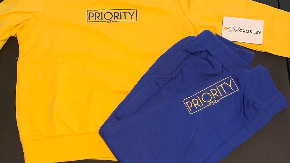 PRIORITY 'Kids' Jogger Set : Yellow and Royal Blue