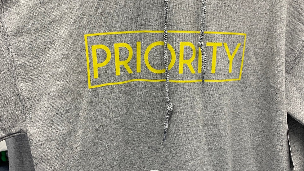 PRIORITY Hoodie : Light Grey w| Yellow words