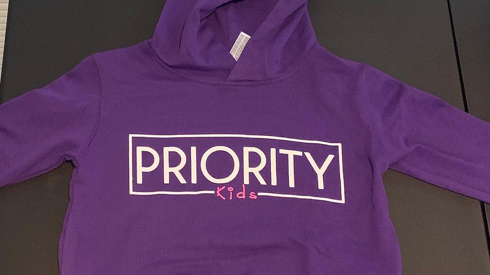 PRIORITY 'Kids' Hoodie : Purple w| White words