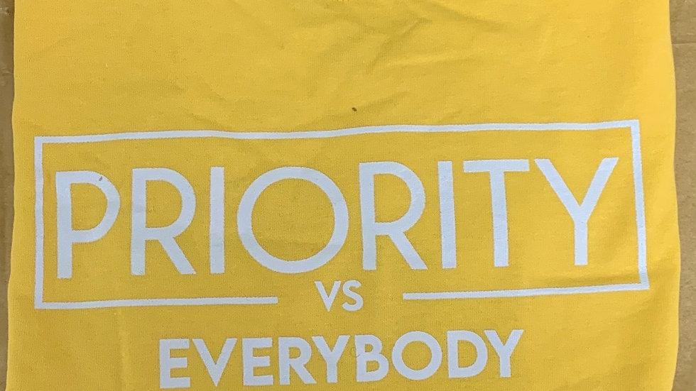 PRIORITY Vs EVERYBODY T-Shirt : Yellow w| white