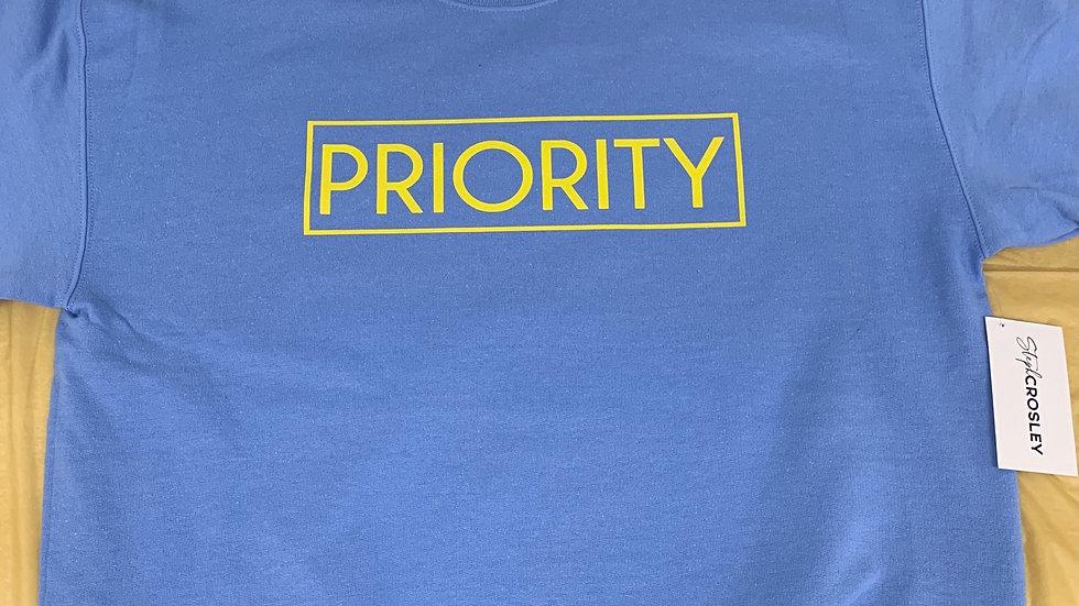 PRIORITY Crewneck : University Blue w| Yellow words