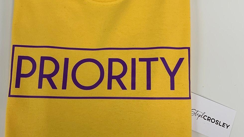 PRIORITY T-Shirt : Yellow w| Purple words