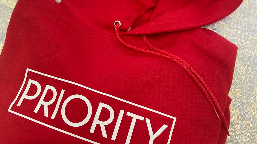PRIORITY Hoodie : Red w  White words