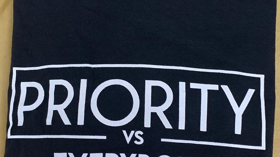 PRIORITY Vs EVERYBODY T-Shirt : Black w| White