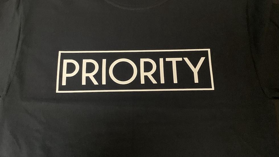 PRIORITY T-Shirt : Black w| White words
