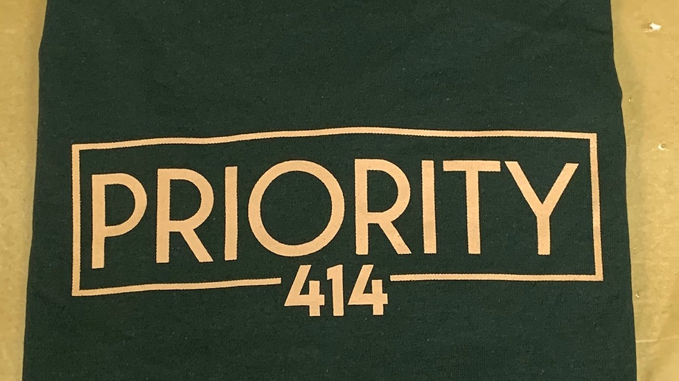 PRIORITY 414 T-Shirt : Forest Green w| Tan words