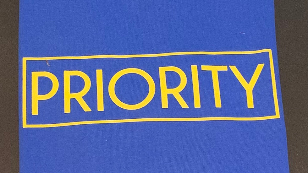 PRIORITY Adult T-Shirt : Royal Blue w| Yellow words
