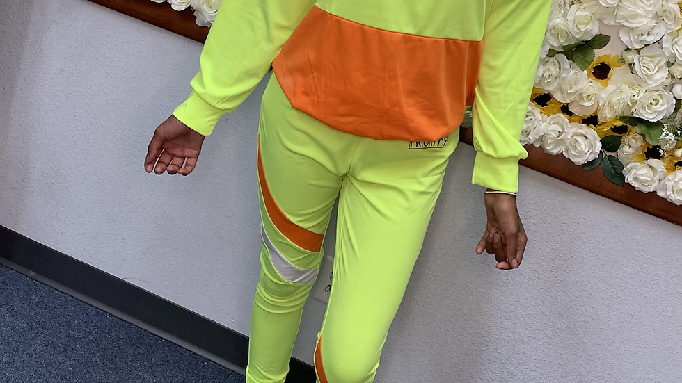 PRIORITY Track Suit : Lime Green , Orange and White w| Black words