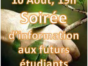 Le 10 Août prochain... Soirée d'information aux étudiants intéressés par nos programmes... Venez